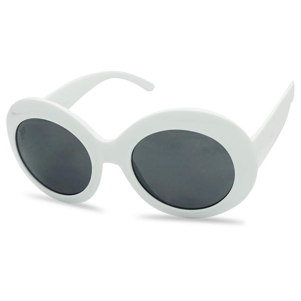 White Oval Retro Inspired Mod Fashion Women's Suglasses (White, Black) by SunglassUP