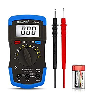 Digital Multimeter,Auto-Ranging Multi Tester,Measuring DC/AC Voltage, Current, Resistance, Capacitance, Frequency, Diode, Transistor and hfE of 4000 Count,HOLDPEAK-36K(Blue)