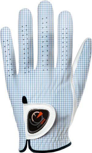 easyglove Classic_Vichy-Blue-W Women's Golf Glove (White), X-Small, Worn on Left Hand