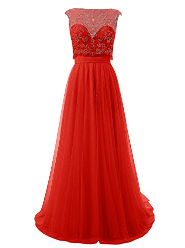Dresstells®Vestido De Madrina Fiesta Baile Largo Con Cuentas Espalda Abierta Rojo