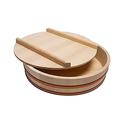 Hangiri wooden sushi rice bowl with lid (30cm(11.8)) Globalkitchen.japan