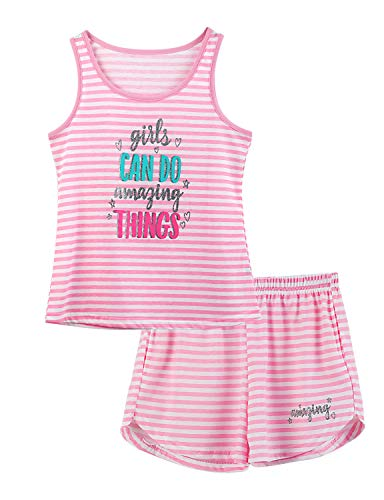 Cozchique Girls Tank Top Pajamas - Size 8 Summer Shorts PJS Set Big Kids Clothes for Tween/Teens Pink Stripe