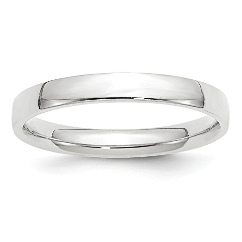 10k White Gold 3mm Light Weight Comfort Fit Band Size 6 by Saris and Things