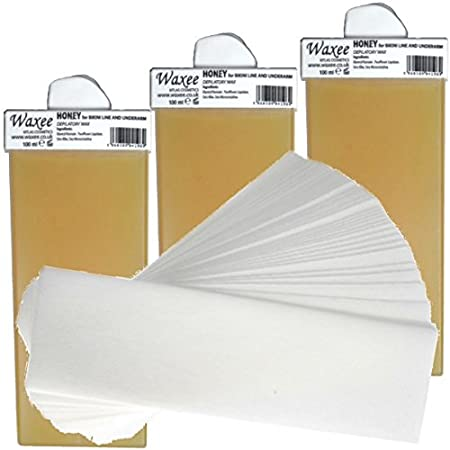 3 x 100ml roll on roller wax cartridge + 50 waxing strips- Waxee- high quality (Wide roller (legs & body ), Honey (with natural Beeswax ))