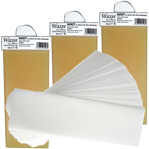 3 x 100ml roll on roller wax cartridge + 50 waxing strips-