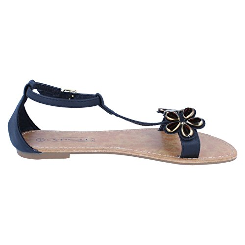 Spot On Flower Trim Damen Sandalen Schwarz