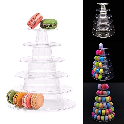 6 Tier Macaron Tower Display Stand, Messar Clear Round Macaron Tower Tray Macaron Display Shelf Rack and Plastic Cake Dessert Stand for Christmas Wedding Birthday Party -