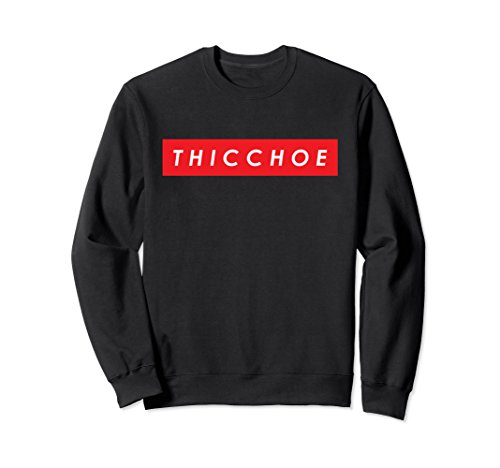 Unisex T H I C C H O E Red Box Logo Pullover Crewneck Sweatshirt Large - Red C H Black Logo