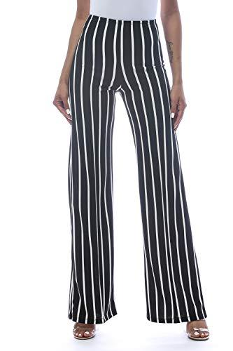 (Cemi Ceri Women's High Waist Bell Bottom Flare Pants, Small, Black Stripe)