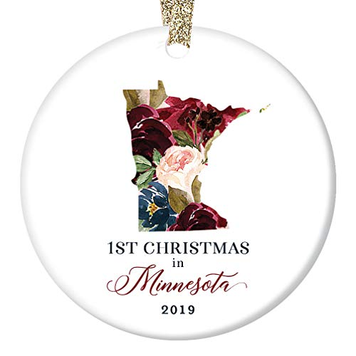 Christmas Season 2019 Tree Ornament Ceramic Collectible First 1st Holiday Living in MINNESOTA Keepsake Present Family Friend Coworker Lovely Floral 3