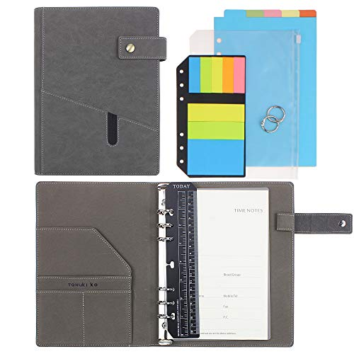 """SynLiZy A5 PU Leather Personal Organizer Undated Planner (A5 Gray) 7.36"""" x 9.44""""(Paper Size 5.5""""x 8.3"""")"""
