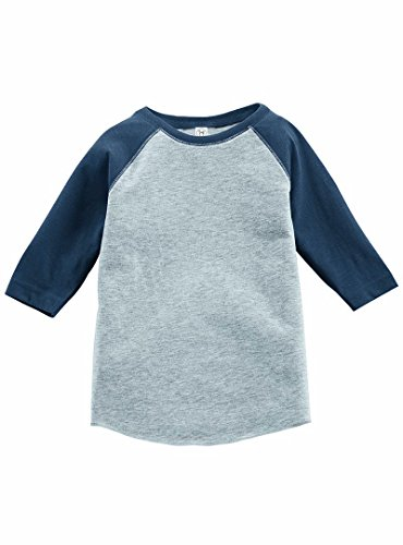 Rabbit Skins 100% Cotton Blank Toddler Baseball Jersey Tee Vintage Heather Gray/ Vintage Royal Blue Short Sleeve T-Shirt