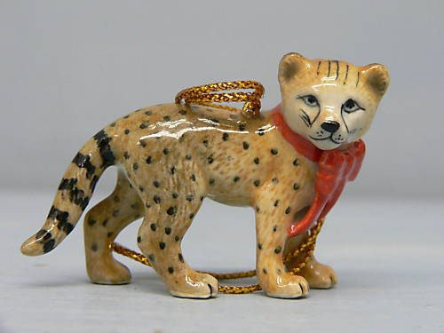 Cheetah Cub w RED BOW MINIATURE New Christmas Ornament Figurine Porcelain NORTHERN ROSE R268