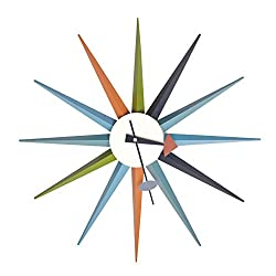 Mod Made Mid Century Modern Star Wall Clock Metal