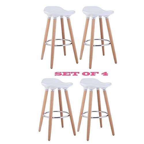 Taburetes, de FurnitureR, diseno moderno, ideal para bar o cocina, con patas de madera, 2unidades, madera, Blanco, 4 PCS