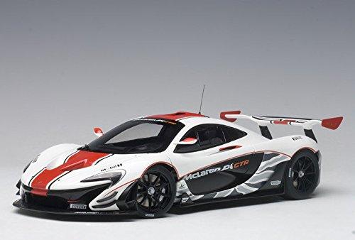 McLaren P1 GTR Gloss White with Red Stripes 1/18 Model Car by Autoart 81541 (1 18 Mclaren P1 Model Car)