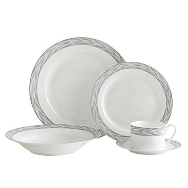 Mikasa Silk Moire Gris 40 Piece Dinnerware Set, Service for 8