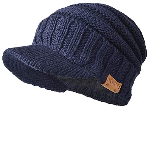 FORBUSITE Men Stripe Knit Visor Beanie Hat for Winter (B320-Navy)