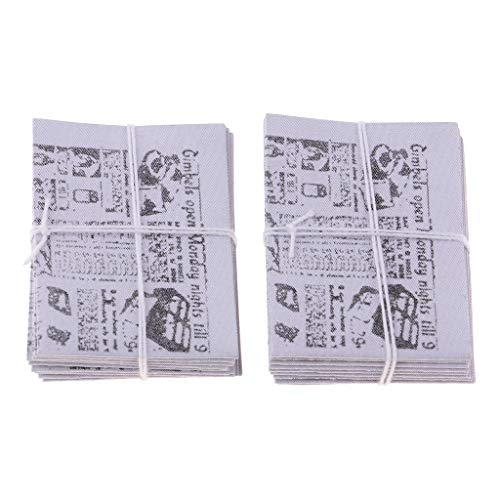 Flameer 2 Sets Dollhouse Miniature Newspaper Broadsheet Model for 1:12 Scale Kids DIY Making Accessories