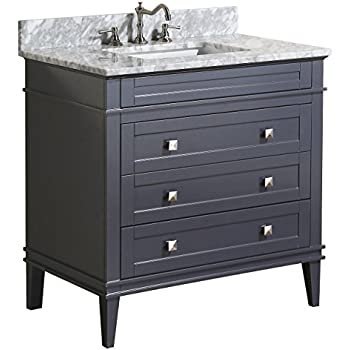 Kitchen Bath Collection KBC L36GYCARR Eleanor Bathroom Vanity With Marble  Countertop, Cabinet With Soft