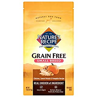 Nature's Recipe Grain Free Small Breed Dry Dog Food, Chicken, Sweet Potato & Pumpkin Recipe, 4 Pounds, Easy to Digest