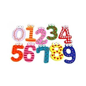SODIAL(TM) Funky Fun Colorful Magnetic Numbers Wooden Fridge Magnets Kids Educational toys