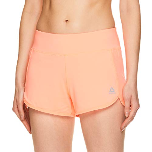 Ladies Running Short - Reebok Women's Athletic Workout Shorts - Gym Training & Running Short - 3 Inch Inseam - Mara Coral Burst, Medium
