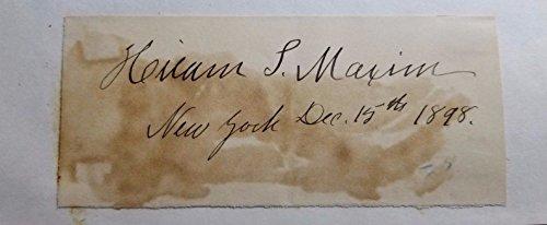 Inventor Sir Hiram Maxim Hand Signed 5x2.5 Todd Mueller W/COA Machine Gun from Unknown