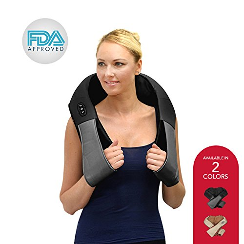 Shiatsu Shoulder and Neck Massager - 3 Speed Deep Kneading Muscle Massage with Heat - For Lower Back, Legs, Arms and More - with AC and Car Adapter - Black - by ComfySure