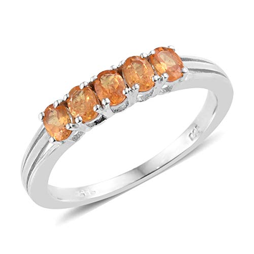 (925 Sterling Silver Platinum Plated Oval Spessartine Garnet Statement Ring for Women Size 7 Cttw 2.2)