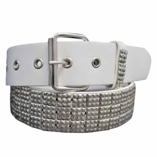 Luxury Divas White Silver 3 Row Studded Grommet Belt Size Medium