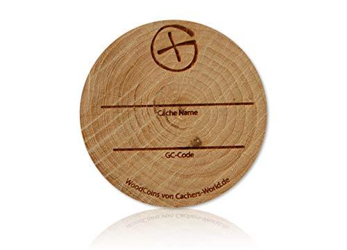 Woodcoin Geotoken Cache-Corner 3 x Geocaching Erstfinder Woodys