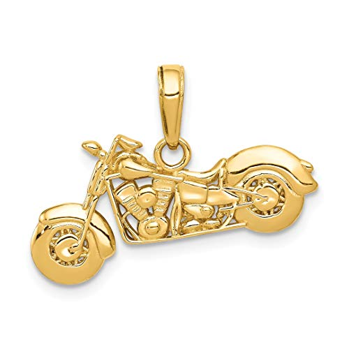 14k Gold Motorcycle (14k Yellow Gold Textured 3 D Motorcycle Pendant Charm Necklace Travel Transportation Fine Jewelry For Women Gift Set)