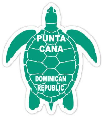 (R and R Imports Punta Cana Dominican Republic 4 Inch Green Turtle Shape Decal Sticke)