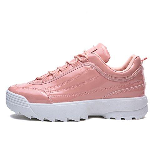 h811 Rosa Scarpe Lucida da Eco Lacci Stringate Pelle para Ginnastica Sneakers Donna MForshop PB7xRwB