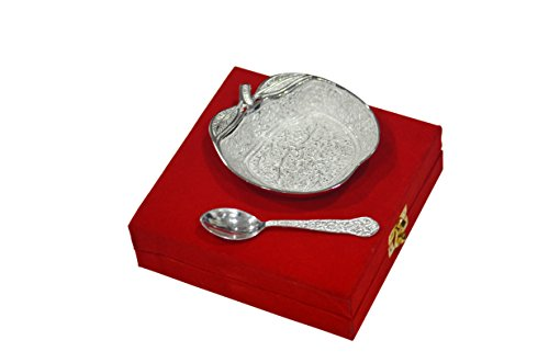 Cultural Hub® Bowl Platter Tray with Spoon Silver Plated Brass Indian Royal Engraving Design with Decorative Gifting Box JK-178-514(Apple Shaped Bowl)