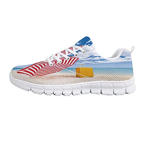 YOLIYANA Yellow and Blue Fashion Gym ShoesWindy Sandy Beach with Sunshade and Trolley Summer Holiday Relax Picture Sneakers for Girls Womens,US 9