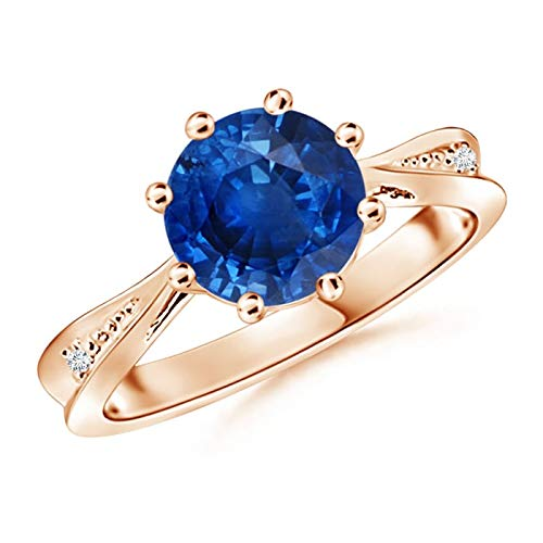 Tapered Shank Blue Sapphire Solitaire Ring with Diamonds in 14K Rose Gold (8mm Blue Sapphire)