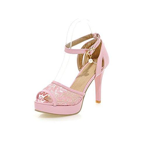 Allhqfashion Mezcla Para Mujer Materiales Hebilla Sólida Peep Toe Tacones Altos Sandalias De Tacón Rosa