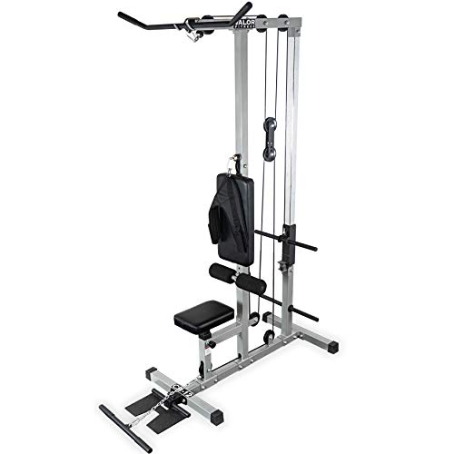 Valor Fitness CB-12 Plate Loaded LAT Pull Down Machine with Lower T-Bar and Ab Crunch Harness (T Bar Row Attachment For Home Gym)
