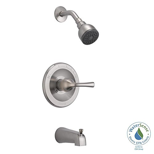 Delta B114900C-SS Foundations Single-Handle 1-Spray Tub and Shower Faucet in Brushed Nickel