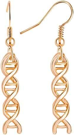 SIlver Plated Helix DNA Drop Earrings Molecules Dangle Earrings