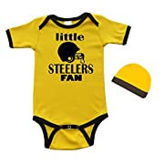 PandoraTees Short Sleeve Onesie & Cap Set - Little Steelers Fan (3-6m, Yellow/Black)