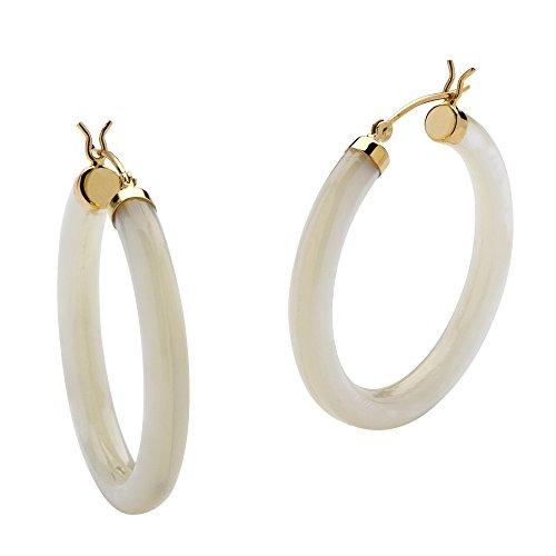 14k Gold Gypsy Hoop Earrings - Genuine White Mother-Of-Pearl 14k Yellow Gold Hoop Earrings (34mm)