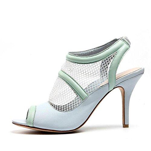 L@YC Frauen absätze PU Fish mouth Fine Heel 6 cm Sandalen schwarz blau Blue