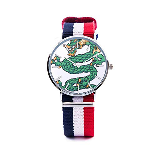 Womens Steel Dynasty Watch - Unisex Fashion Watch Qinglong Chinese Style Mascot Fierce Print Dial Quartz Stainless Steel Wrist Watch with Nylon NATO Strap Watchband for Women Men 36mm Casual Watch