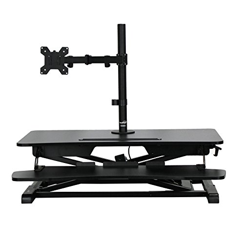 NavePoint Height Adjustable Sit-Stand Ergonomic Desk Riser W/ Keyboard tray and Single Mount