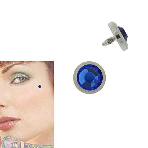 Piercing Dermal Microdermal Acier Chirurgical Cristal Bleu Saphir 5mm