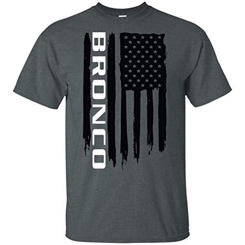 WheelSpinAddict Men's Bronco American Flag T-Shirt Dark Heather