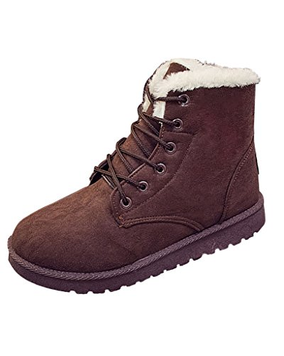 Minetom Womens Ladies Fur Lined Lace Up Winter Snow Ankle Boots Flat Platform Sneaker Shoes Brown